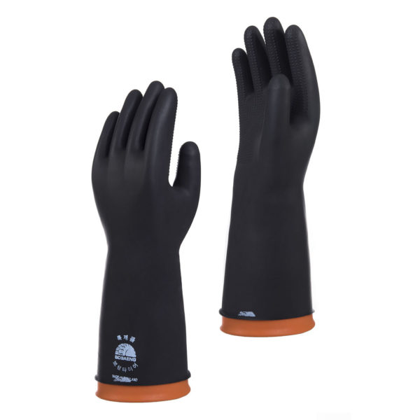 BI-BO-9 Industrial Latex Gloves Black Orange #2